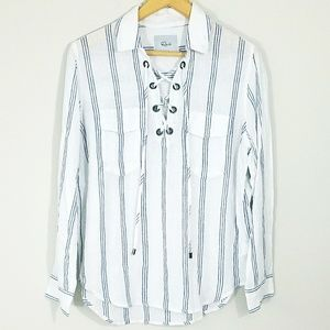 Rails striped laced collared blouse
